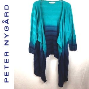 Peter Nygard Blue Striped Knit Open front Sweater